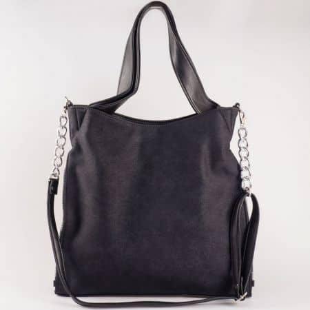 Дамска чанта с атрактивна визия и две дръжки на водещ български производител в черен цвят s1131tch