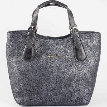 Дамска стилна чанта с протрит ефект на български производител в черен цвят s1146ch1