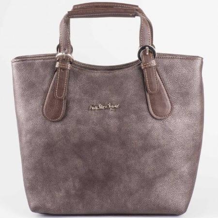 Дамска стилна чанта на български утвърден производител в кафяв цвят s1146k1