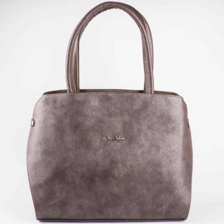 Дамска практична чанта на български производител в кафяв цвят s1157k1