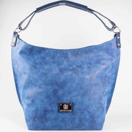 Дамска практична чанта с регулиращи се дръжки на български производител в син цвят s1160s1