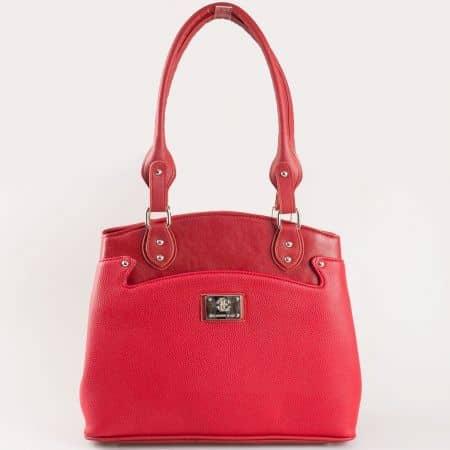 Дамска атрактивна чанта за всеки ден с кроко принт на български производител в червен цвят s1177chv