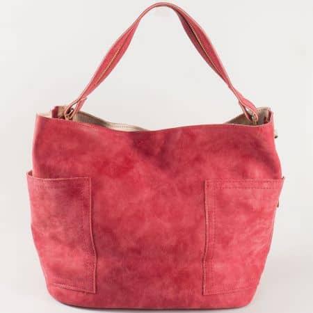 Червена дамска чанта с къса и дълга дръжка s1197chv