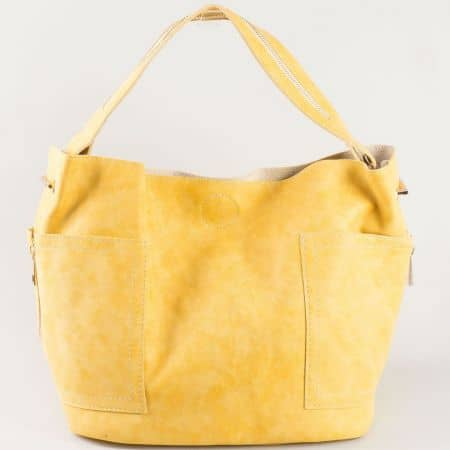 Стилна жълта дамска чанта с къса и дълга дръжка на българска фирма s1197j