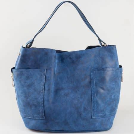 Модерна синя дамска чанта тип торба с ефектна визия и странични ципове s1197s