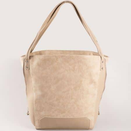 Дамска чанта за всеки ден с атрактивна визия на български производител в бежов цвят s1180bj