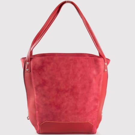 Дамска ежедневна чанта с две дръжки на водещ български производител в червен цвят s1180chv