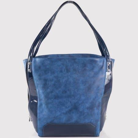 Дамска атрактивна чанта за всеки ден на български производител в син цвят s1180s