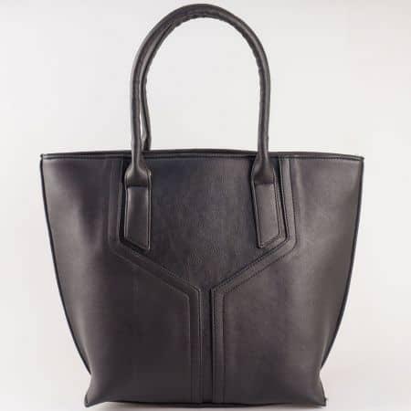 Дамска чанта за всеки ден със стилна визия и две дръжки на български производител в черен цвят s1188ch