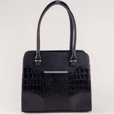 Българска дамска чанта с кроко мотив в черен цвят s1206krch