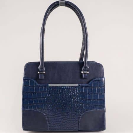 Синя дамска чанта с две външни джобчета и кроко мотив s1206krs