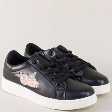 Спортни дамски обувки на равно ходило в черен цвят с връзки s130ch
