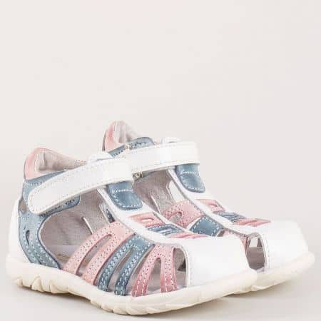 Български детски сандали с лепка изцяло от естествена кожа в бяло, розово и синьо- Kapchitsа  s19b