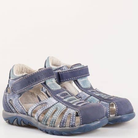 Детски летни сандали произведени от 100% естествена кожа на български производител в син цвят s19s