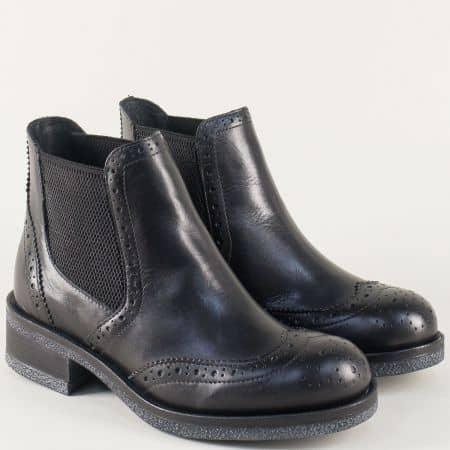 Черни дамски боти от естествена кожа на нисък ток s24thunch