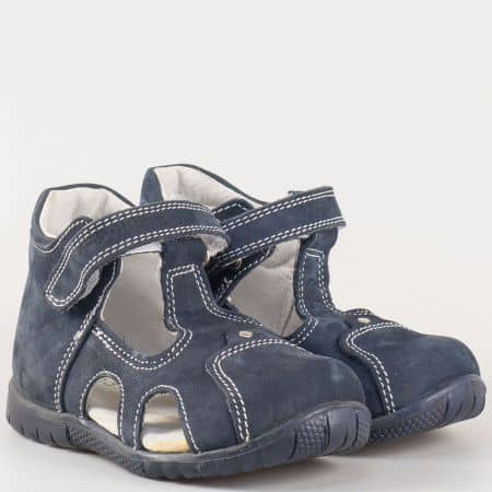 Детски летни обувки с прорези, лепка и кожена ортопедична стелка- Kapchitsа от естествен набук в син цвят s34s