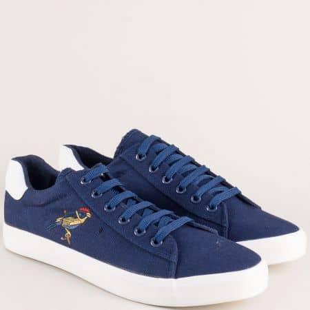 Спортни мъжки обувки на равно ходило в син цвят s45s