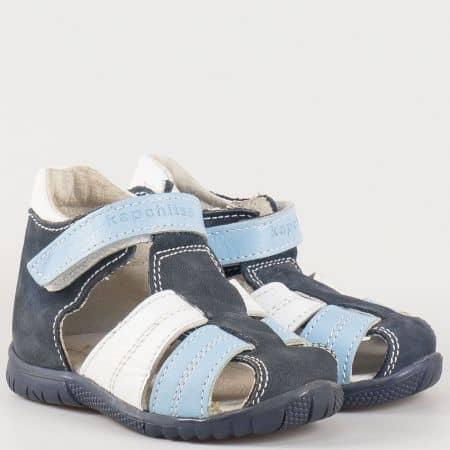 Детски сандали с удобна кожена стелка и велкро лента на български производител в син цвят s64s