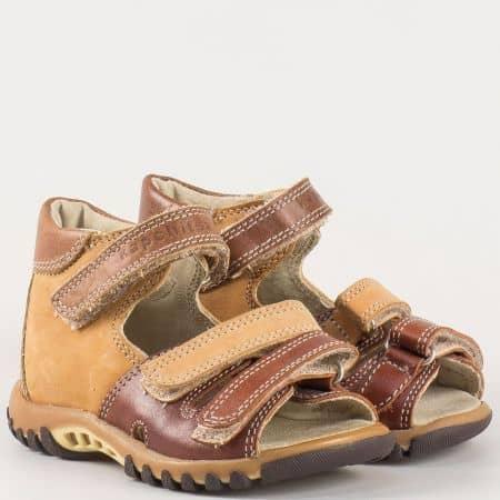 Ортопедични детски сандали от кафяв естествена кожа- Kapchitsа s75k