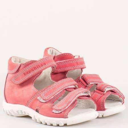 Розови детски сандали с кожена стелка и три лепки от естествен набук- Kapchitsа  s75rz