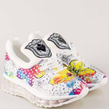 Дамски маратонки с камъчета и свежи цветове на комфортна платформа sz22bps