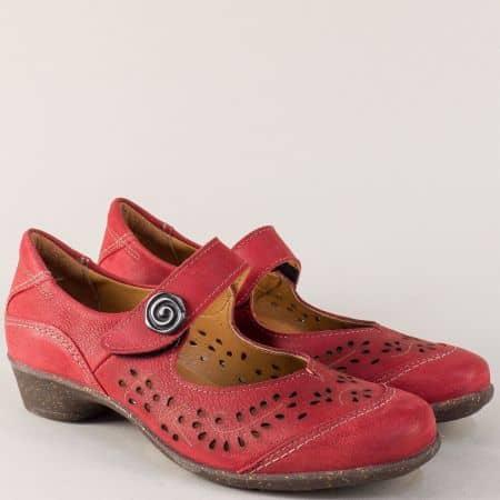 Червени дамски обувки от естествена кожа с перфорация ute47chv