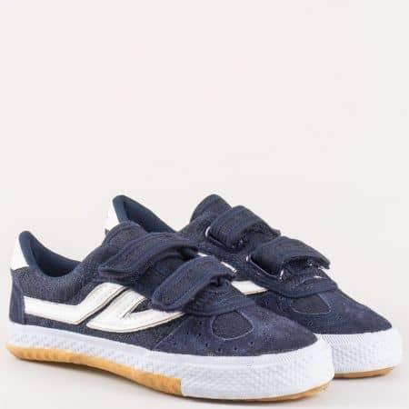 Детски спортни обувки с две лепки- Bulldozer в синьо и бяло v008-35s