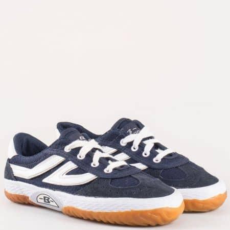 Равни детски обувки с връзки- Bulldozer в синьо и бяло v08-35s