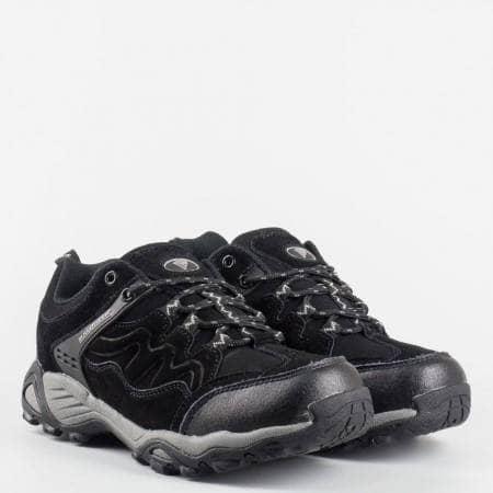 Черни юношески маратонки от естествен велур и кожа на фирмата Bulldozer  v159-40ch