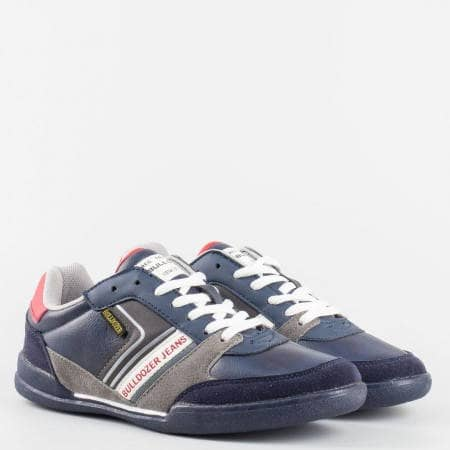 Юношески сини маратонки с връзки и младежки надпис на фирмата Bulldozer  v52076-40s
