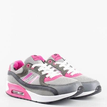 Eжедневни дамски спортни маратонки  с комфортно ходило и цветова комбинация v52092-40sv