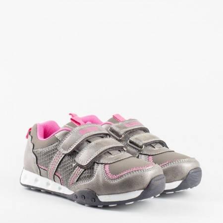 Модерни сиви детски маратонки за момиче Bulldozer v52200-35sv