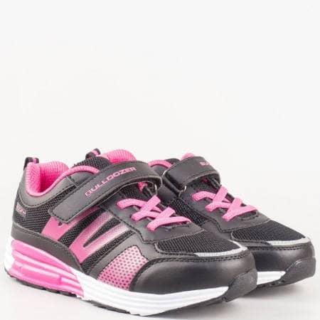 Детски спортни маратонки на удобно ходило с връзки и велкро лепенка в черен и цикламен цвят v61088-35ch