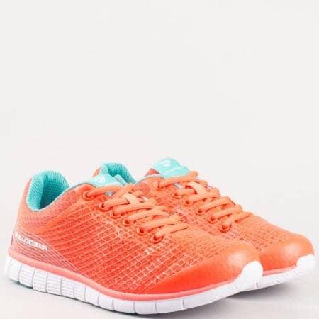 Оранжеви спортни дамски обувки с връзки v61179-40o