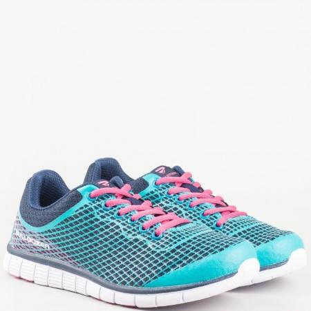 Дамски маратонки за спорт с връзки и мрежичка на удобно ходило в тъмно и светло синьо v61179-40s