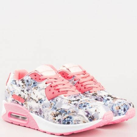 Дамски пролетни маратонки с флорална визия на удобно ходило в сиво и розово v61225-40sv