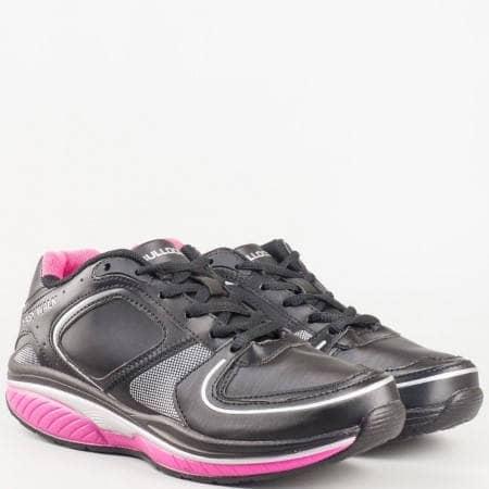 Дамски маратонки с връзки в черно с розово ходило- Bulldozer v61239-40ch