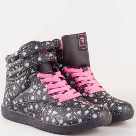 Дамски черни кецове с розови връзки, две лепки и ефектен прин- Bulldozer  v62028-40ch