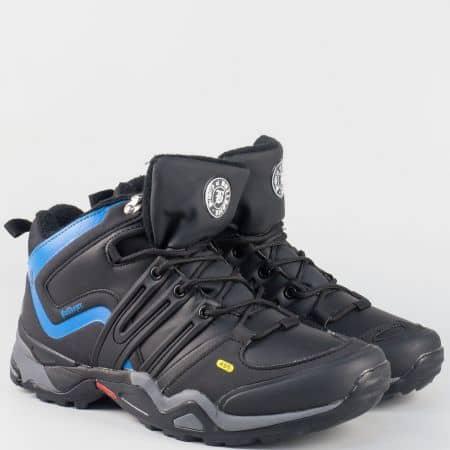 Юношески маратонки с връзки- Bulldozer в синьо и черно v62043-40chs