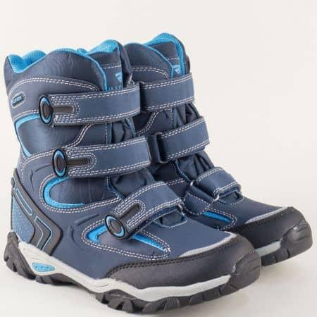 Детски боти в синьо на равно ходило с велкро лепки v62227-40s