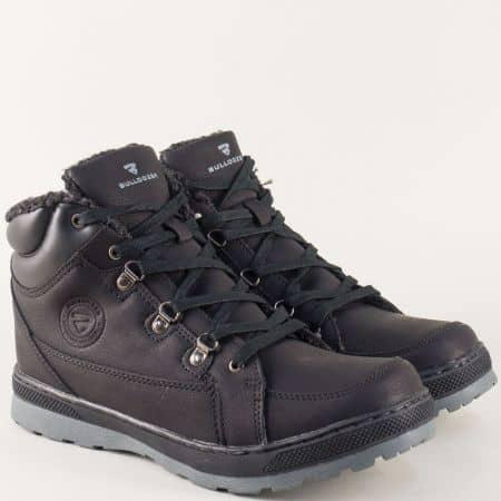 Шити мъжки боти в черен цвят с връзки- Bulldozer v62236-45ch