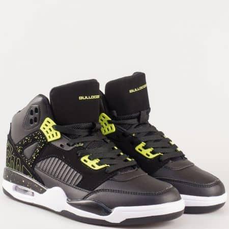 Високи мъжки спортни обувки с връзки и въздушна камера- Bulldozer в бяло, зелено и черно  v62300-45chz