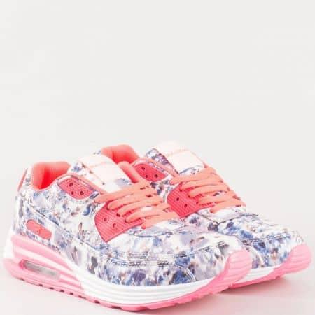 Дамски фешън маратонки с флорален принт и връзки- Bulldozer в бяло, синьо и розово  v62317-40sv