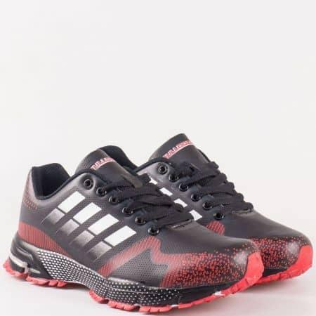 Дамски маратонки от еко кожа Bulldozer в черно и червено v62320-40ch