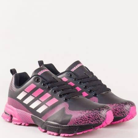 Дамки спортни обувки с връзки и грайфер- Bulldozer в бяло, розово и черно v62320-40chrz