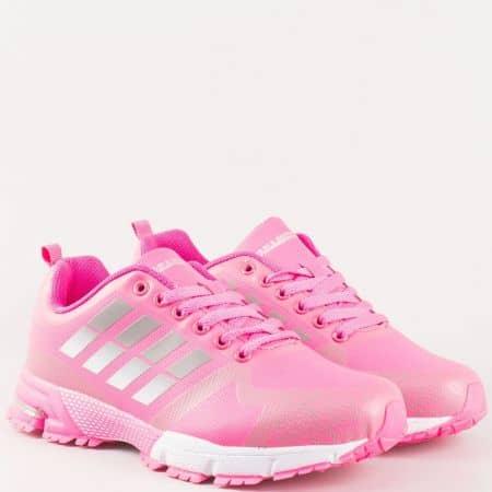 Розови дамски маратонки с връзки и грайферно ходило- Bulldozer  v62320-40rz