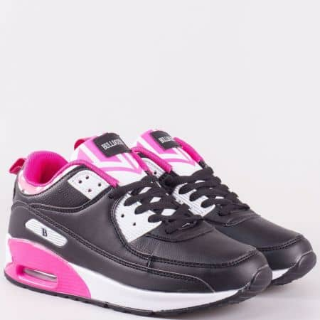 Комфортни дамски маратонки с връзки в черно, бяло и розово- Bulldozer  v62327-40ch