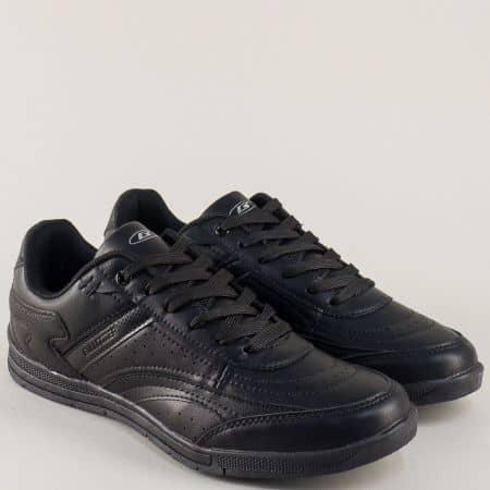 Черни мъжки маратонки на комфортно равно ходило и практични връзки v71001-45ch