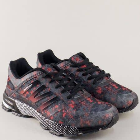Мъжки маратонки в черно с цветни мотиви на равно ходило v71030-45ch