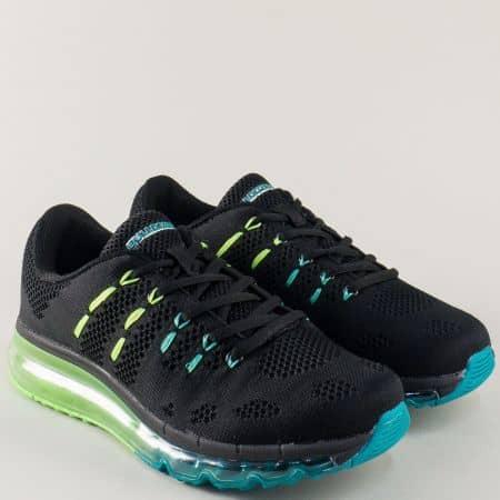 Мъжки маратонки в черен цвят на равно ходило с връзки v71144-45ch